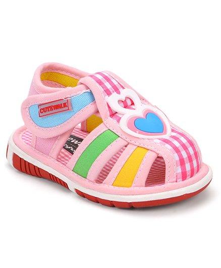 Cute Walk By Babyhug Sandals Heart Patch - Pink