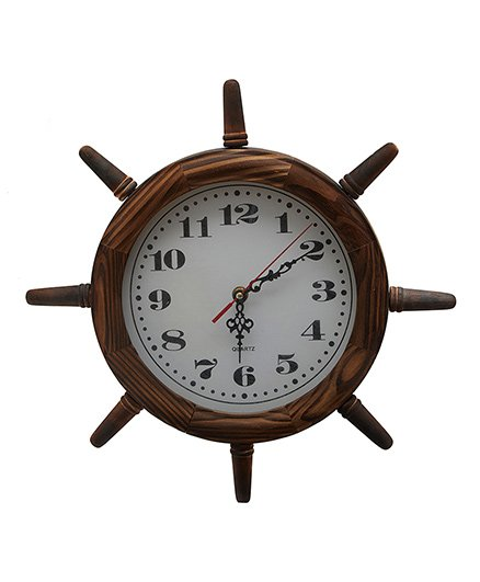 Ez Life Wooden Nautical Clock - Brown
