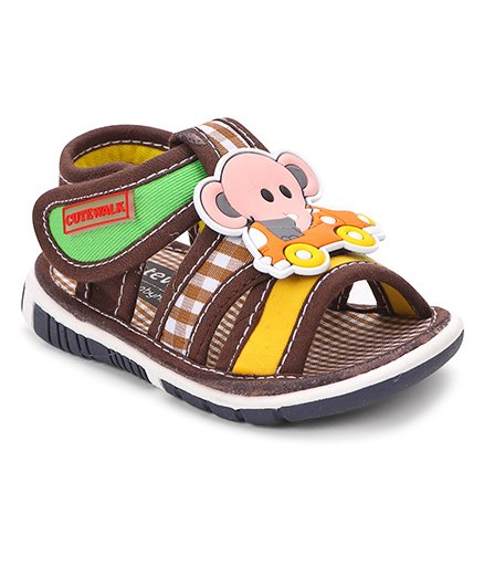 Cute Walk By Babyhug Sandals Elephant Patch - Coffee Brown