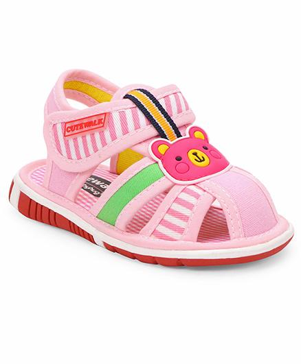 Cute Walk by Babyhug Sandals Teddy Motif - Pink