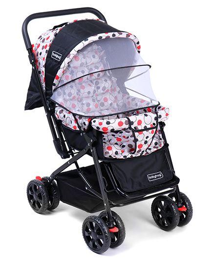 Babyhug Moon Walk Stroller Polka Dots Print - Black