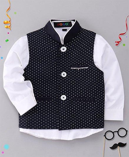 Robo Fry Full Sleeves Plain Shirt And Dots Print Jacket - Navy Blue & White