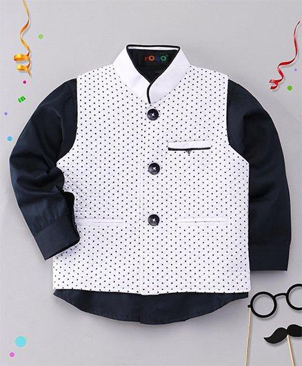Robo Fry Full Sleeves Plain Shirt And Dots Print Jacket - Black & White