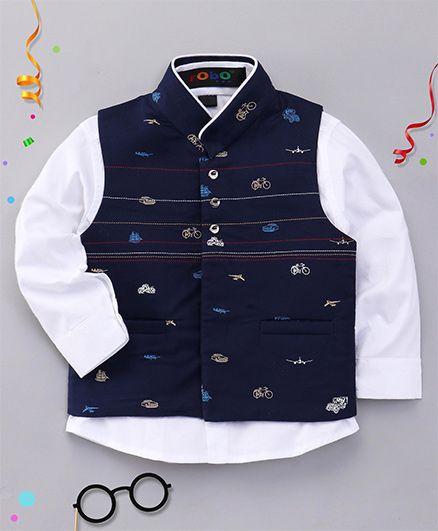 Robo Fry Full Sleeves Shirt And Jacket - White Navy Blue