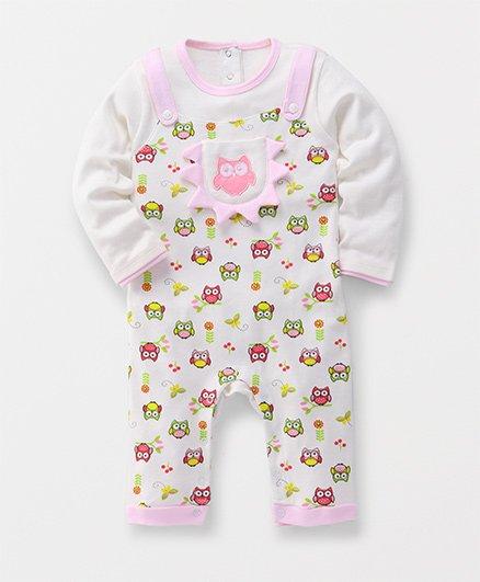 Moms Love Full Sleeves Romper All Over Owl Print - White & Pink