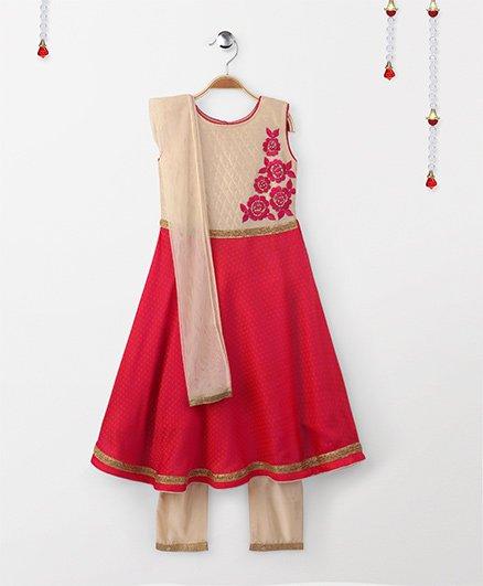 Babyhug Sleeveless Floral Embroidered Kurti & Churidar Set - Pink Beige