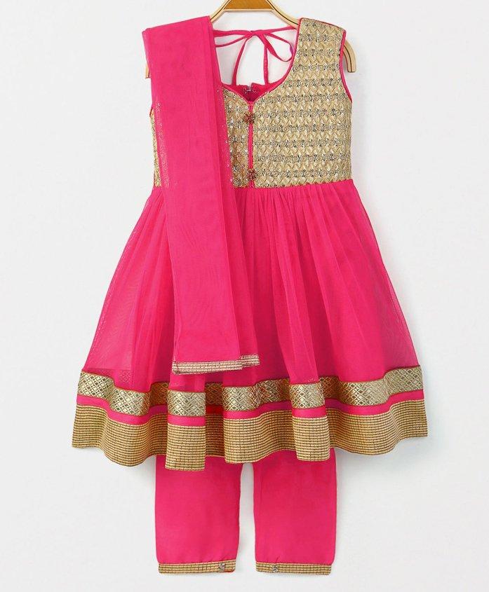 Babyhug Sleeveless Ethnic Wear Kurti & Straight Pants With Dupatta - Fuchsia