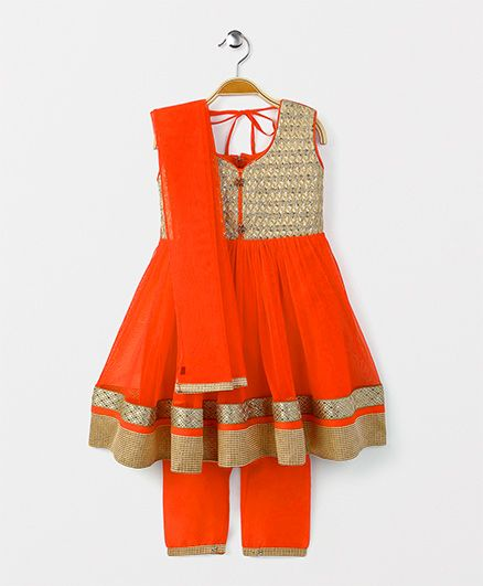 Babyhug Sleeveless Ethnic Wear Kurti & Straight Pants With Dupatta - Orange