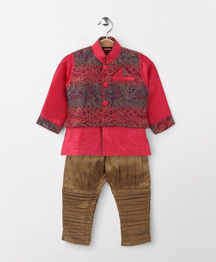 Babyhug Full Sleeves Kurta And Jodhpuri Breeches With Jacket - Pink Golden
