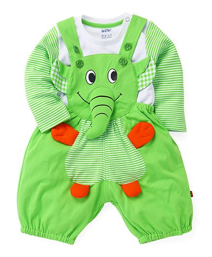 WOW Clothes Elephant Applique Dungaree With T-Shirt - Green