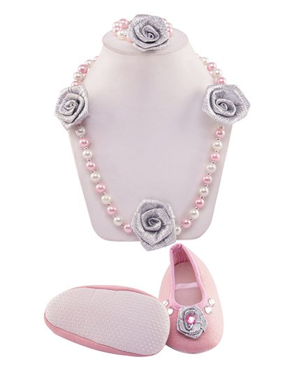 Daizy Embellished Rose Applique Shimmer Booties With Pearl Necklace & Bracelet - Baby Pink