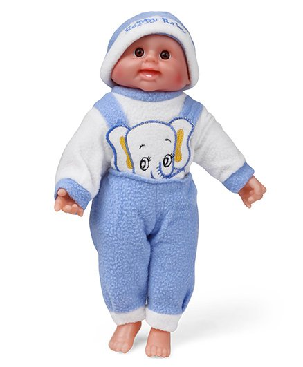 Smiles Creation Baby Doll Elephant Print Blue - 34 cm