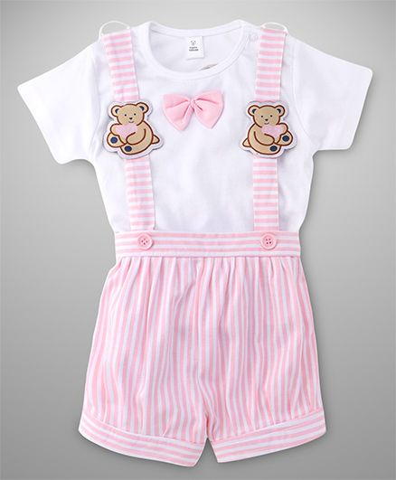 ToffyHouse Stripes Dungaree With Teddy Applique And Tee With Bow - Pink White