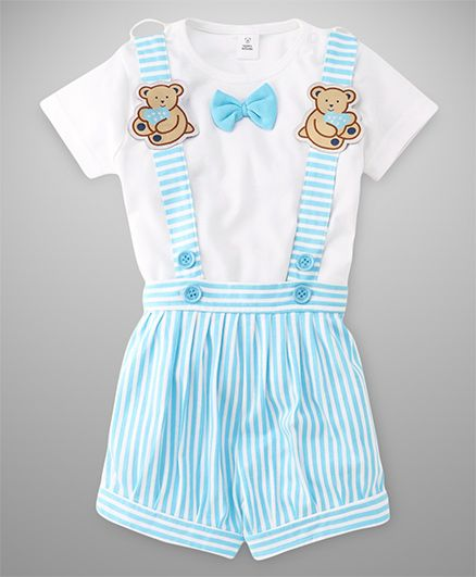 ToffyHouse Stripes Dungaree With Teddy Applique And Tee With Bow - Blue White