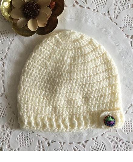 Buttercup From KnittingNani Crochet Cap With Multicolor Button - Off White