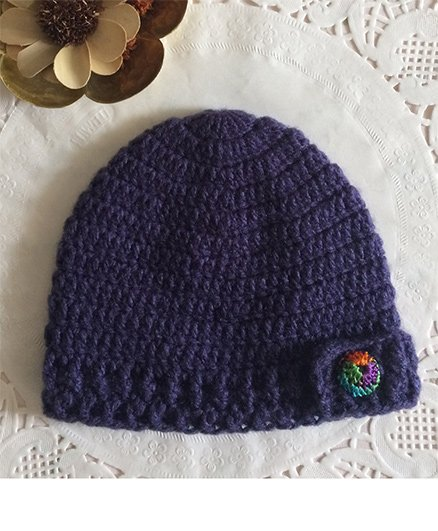 Buttercup From KnittingNani Crochet Cap With Multicolor Button - Purple