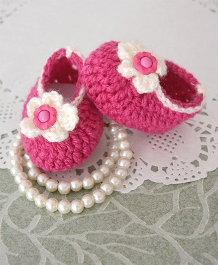 Buttercup From KnittingNani Flower Design Crochet Booties - Magenta