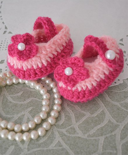 Buttercup From KnittingNani Floral Design Crochet Starp Booties - Pink & Magenta