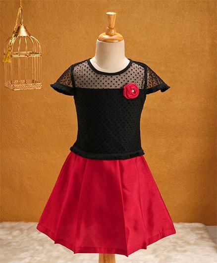 Babyhug Short Sleeves Top & Skirt Set - Black Fuchsia