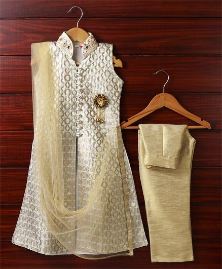 Babyhug Sleeveless Self Design Kurti And Straight Pants With Dupatta - Golden