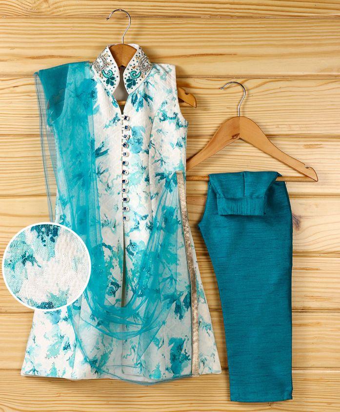 Babyhug Sleeveless Tie N Dye Print Kurti And Straight Pants With Dupatta - Blue White
