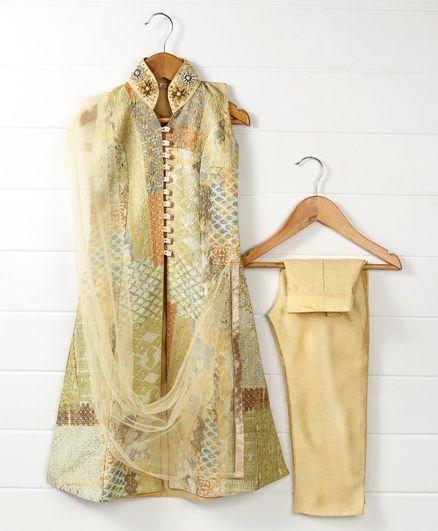 Babyhug Sleeveless Self Blocks Design Kurti And Straight Pants With Dupatta - Golden