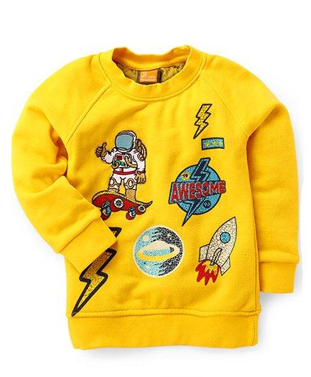Little Kangaroos Full Sleeves Sweatshirt Astronaut Embroidery - Yellow