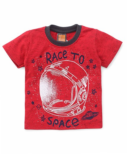 Little Kangaroos Half Sleeves Tee Race To Space Print - Red