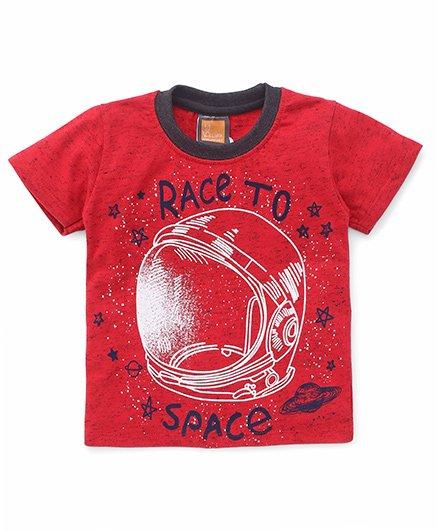 Little Kangaroos Half Sleeves Tee Race To Space Print - Red