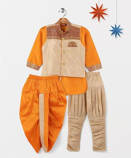 Babyhug Full Sleeves Kurta Jodhpuri Breeches And Dhoti With Jacket - Orange