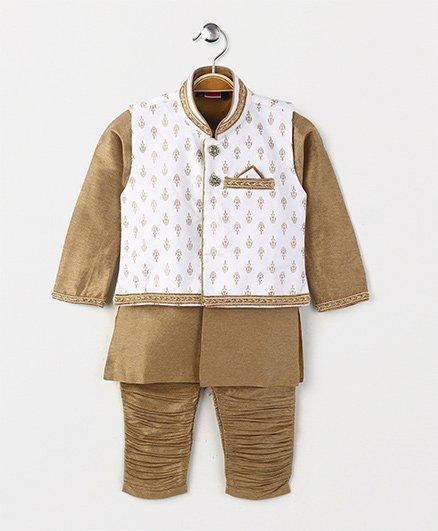 Babyhug Full Sleeves Kurta And Jodhpuri Breeches With Jacket - Brown White