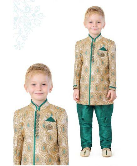 Ethniks Neu Ron Full Sleeves Kurta Pajama Set - Beige Green