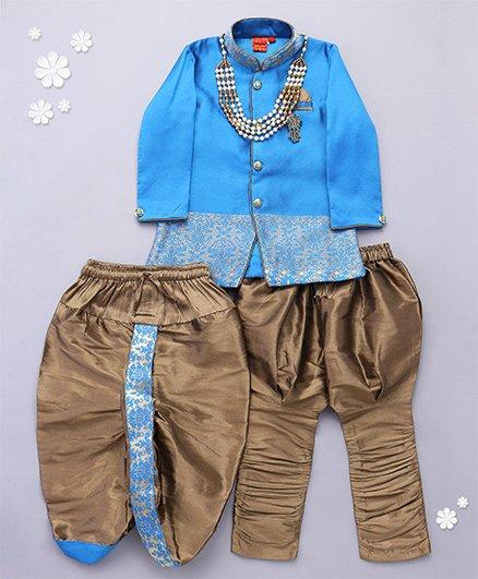 Ethniks Neuron Full Sleeves Kurta Dhoti Breeches & Neck Peice - Blue
