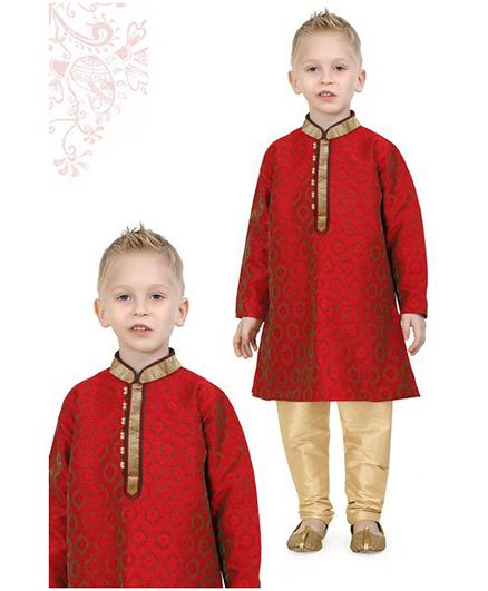 Ethniks Neu Ron Full Sleeves Kurta Pajama Set - Red Beige