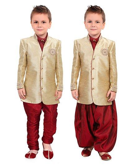 Ethniks Neu Ron Dhoti Kurta Pajama Set - Beige Maroon