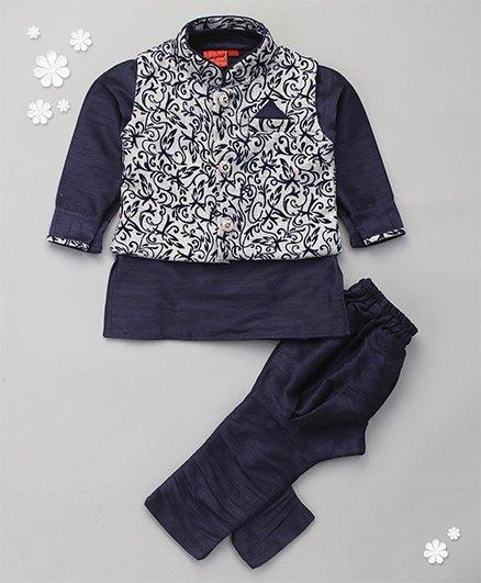 Ethniks Neu Ron Kurta Jacket And Pajama Set - Blue Grey
