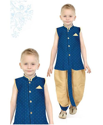 Ethniks Neu Ron Sleeveless Kurta And Dhoti Set - Blue