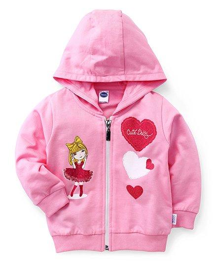 Teddy Full Sleeves Hooded Sweat Jacket Cute Baby Print - Pink