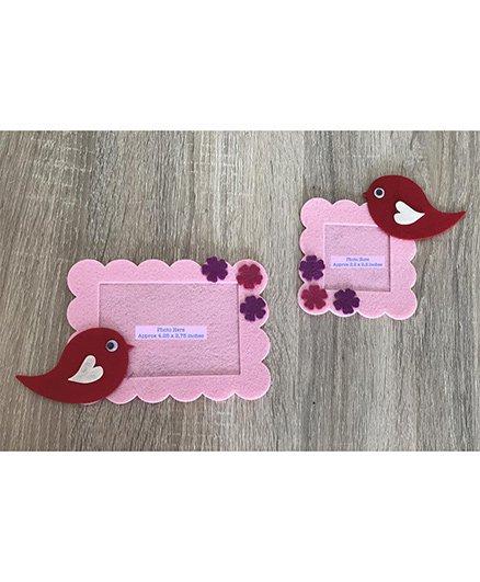 Kalacaree Set Of 2 Bird & Flower Theme Magnetic Photo Frame - Baby Pink
