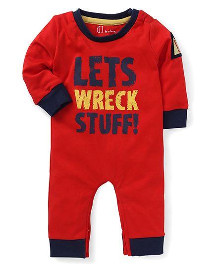 GJ Baby Full Sleeves Printed Romper - Red