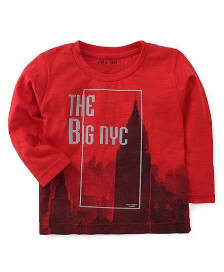 Palm Tree Full Sleeves Tee The Big NYC Print - Red