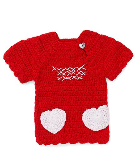 Rich Handknits Half Sleeves Sweater With Crochet Heart Patch - Red White