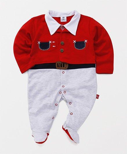 Mini Taurus Party Wear Full Sleeves Romper - Red
