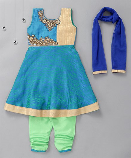 Rikidoos Stylish Kurta With Churidar & Dupatta - Blue