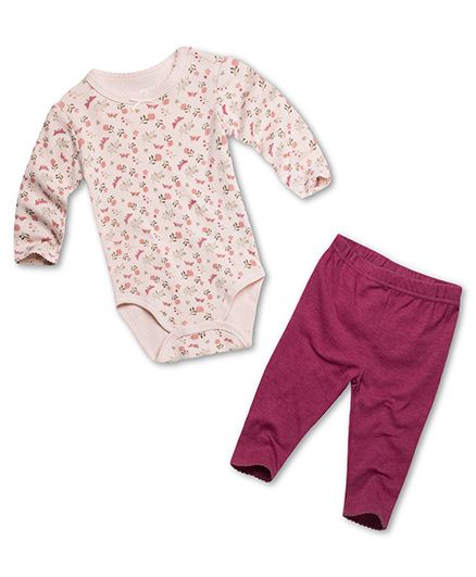 Fox Baby Full Sleeves Onesie And Legging Floral Print - Peach Pink