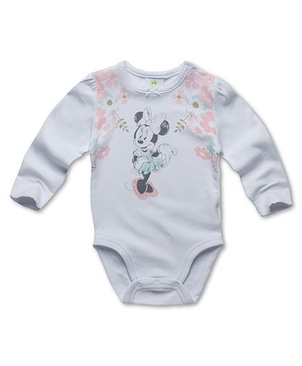Fox Baby Full Sleeves Onesie Minnie Mouse & Floral Print - White