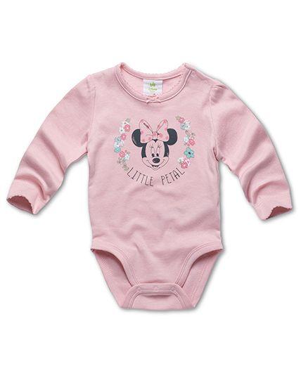 Fox Baby Full Sleeves Onesie Minnie Mouse & Floral Print - Pink