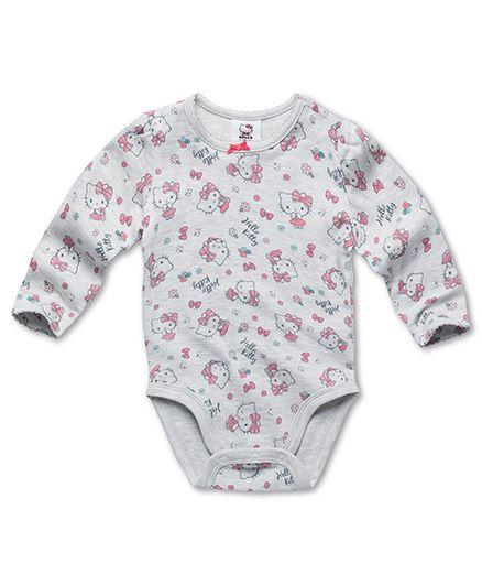 Fox Baby Full Sleeves Onesie Hello Kitty Print - Grey