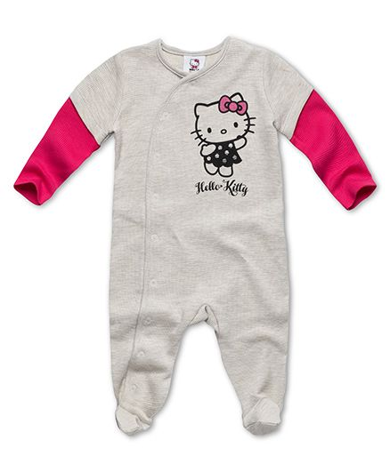 Fox Baby Full Sleeves Rompers Hello Kitty Print - Grey