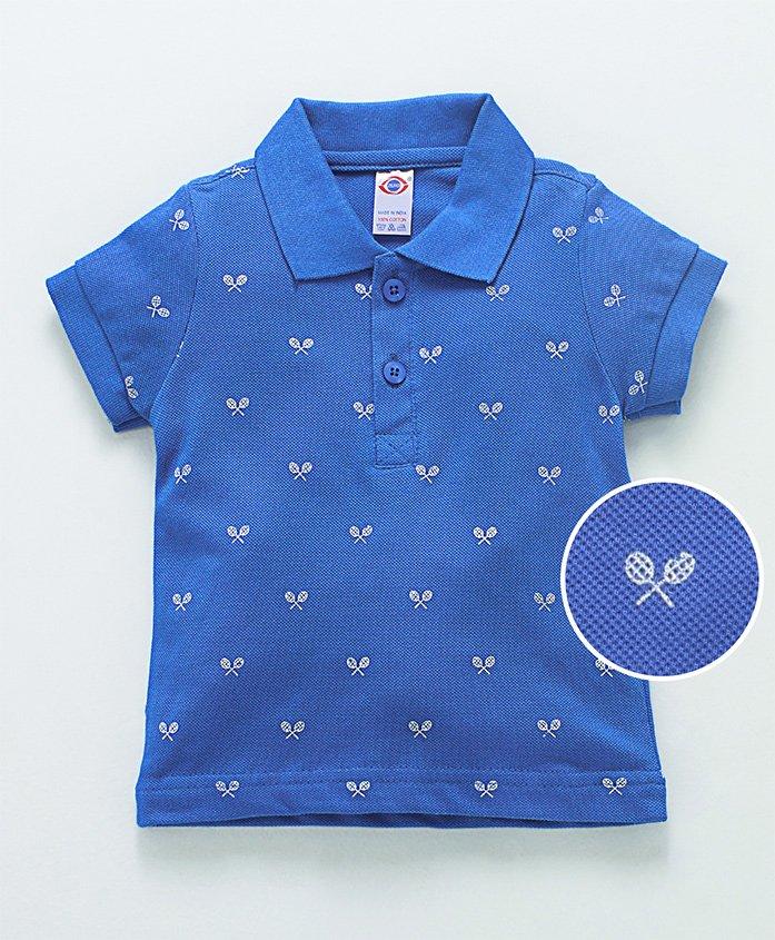 Zero Half Sleeves Polo Neck T-Shirt Racket Print - Blue